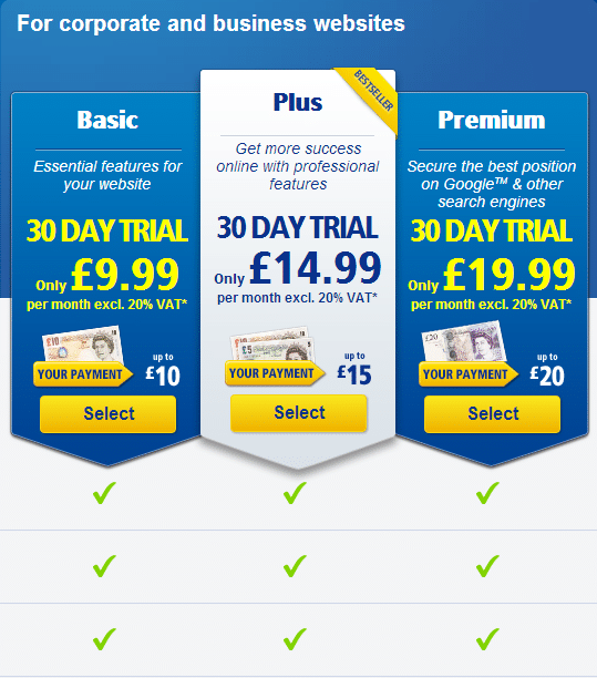 1&1 Pricing Table Review